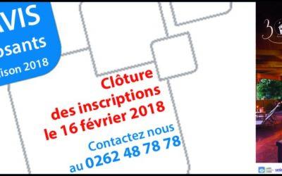 Clôture des inscriptions salon de la Maison 2018